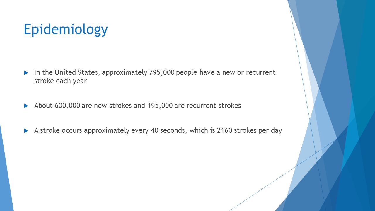 Epidemiology In the United States, approximately 795,000 people have a new or recurrent stroke each year.
