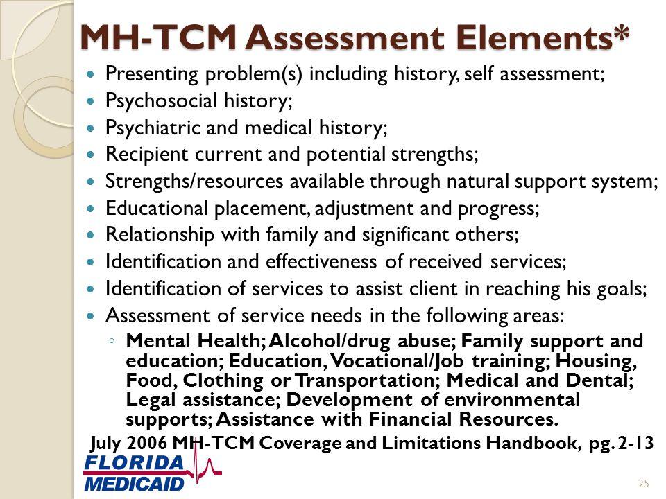 MH-TCM Assessment Elements*
