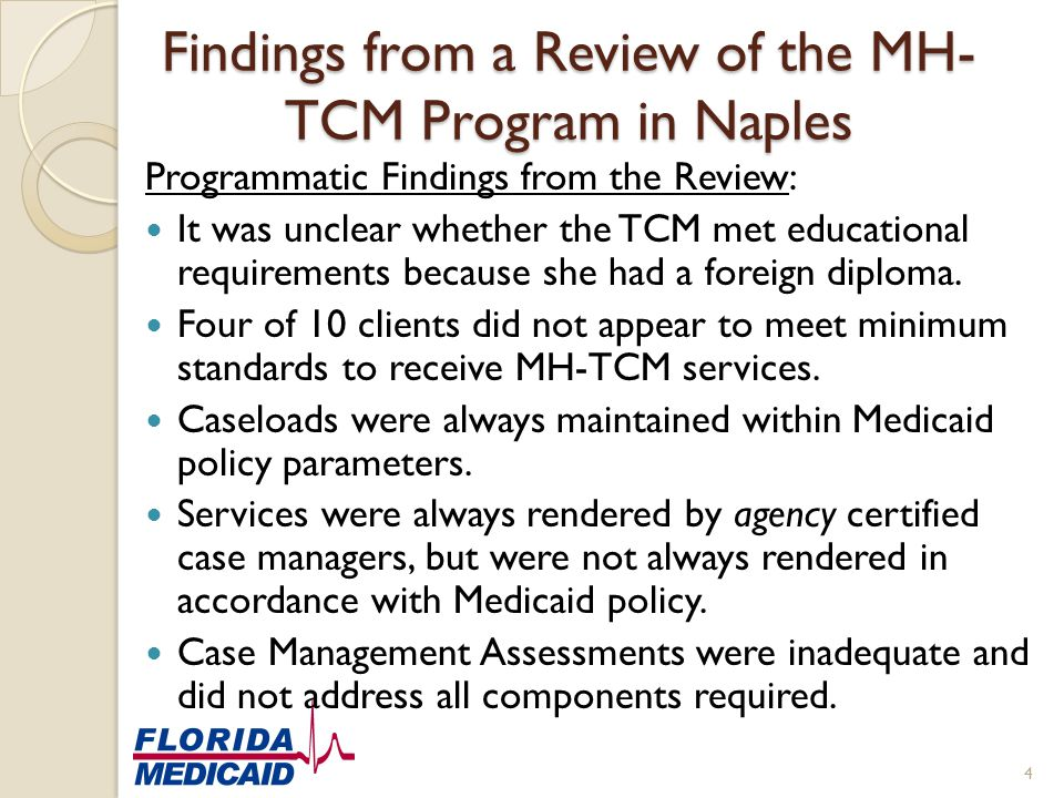 Findings from a Review of the MH-TCM Program in Naples