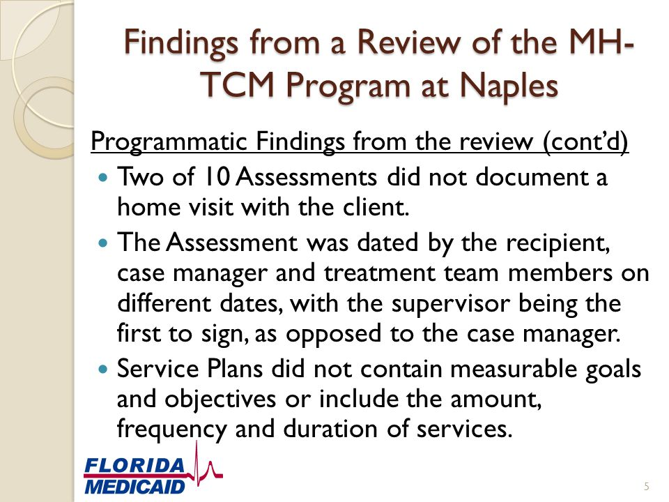 Findings from a Review of the MH-TCM Program at Naples