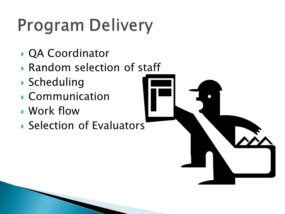 Program Delivery QA Coordinator Random selection of staff Scheduling