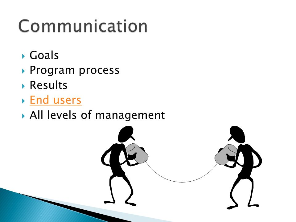 Communication Goals Program process Results End users