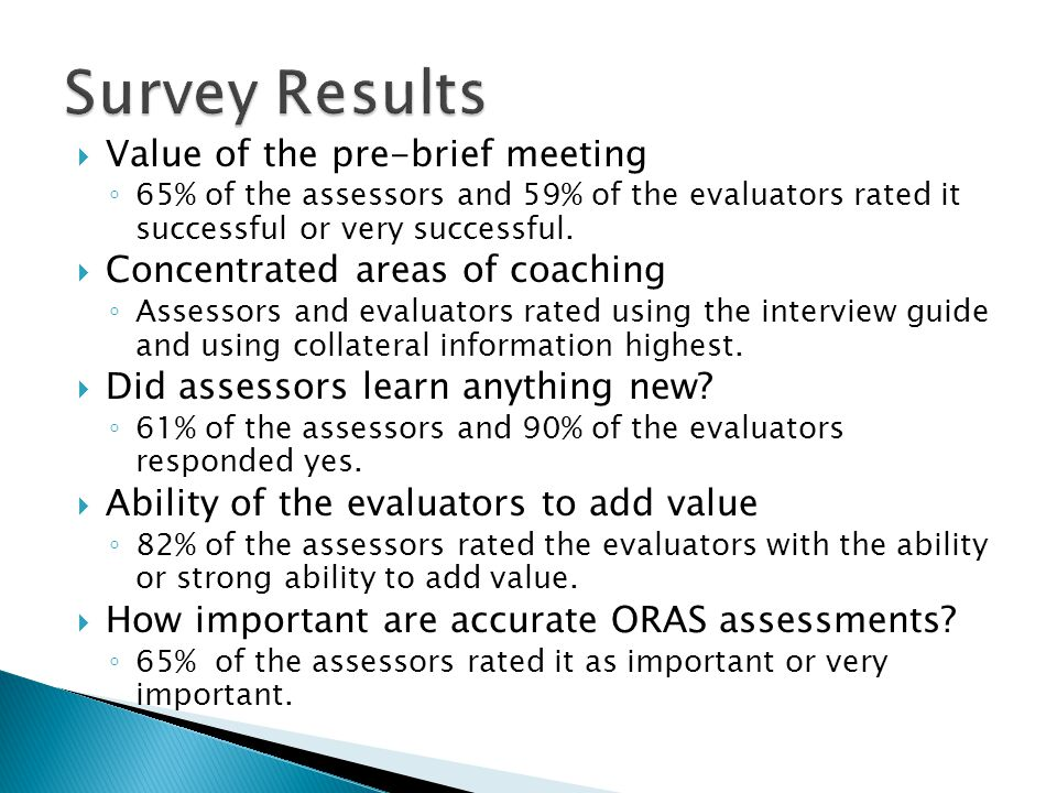 Survey Results Value of the pre-brief meeting