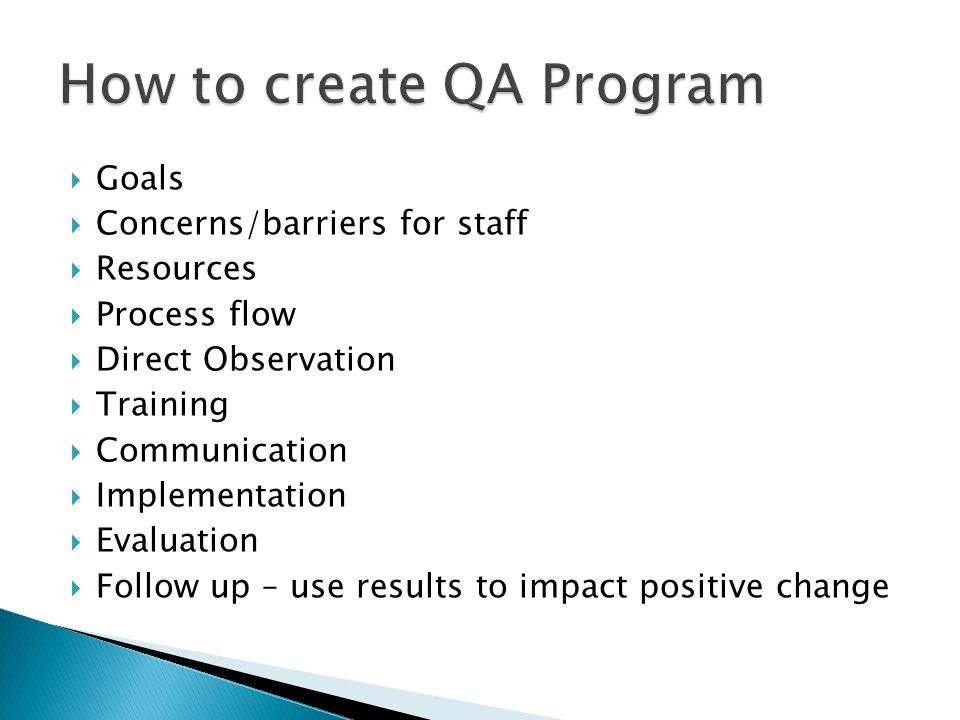 How to create QA Program