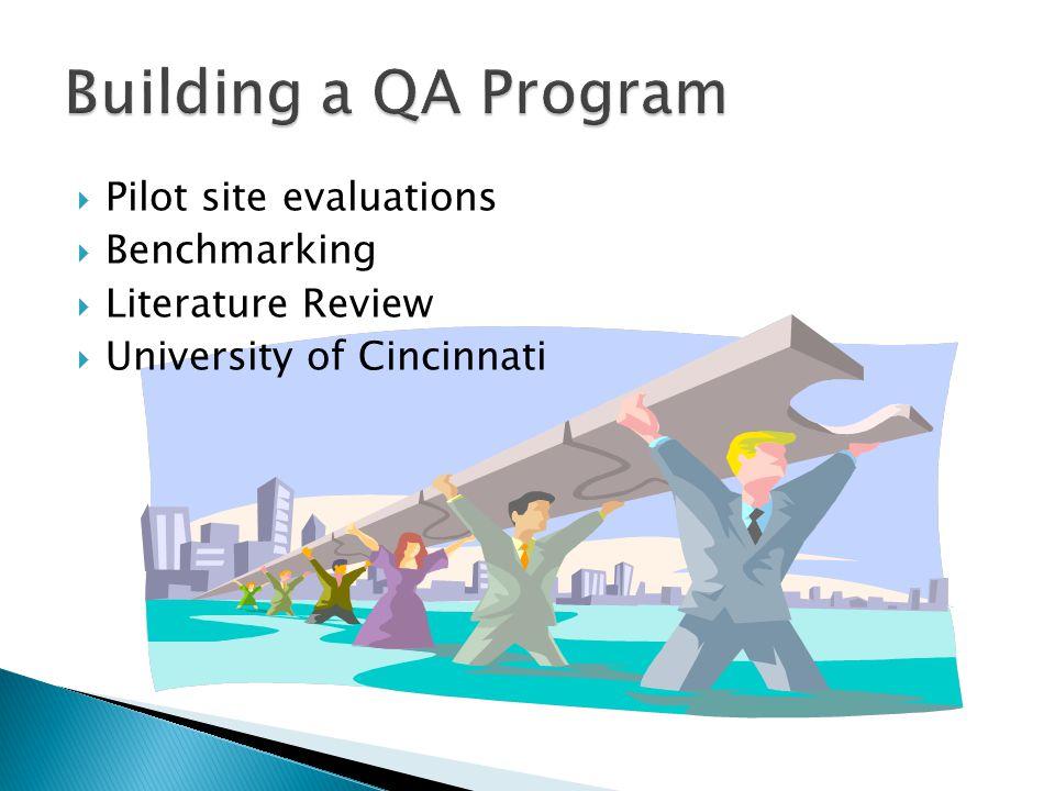 Building a QA Program Pilot site evaluations Benchmarking