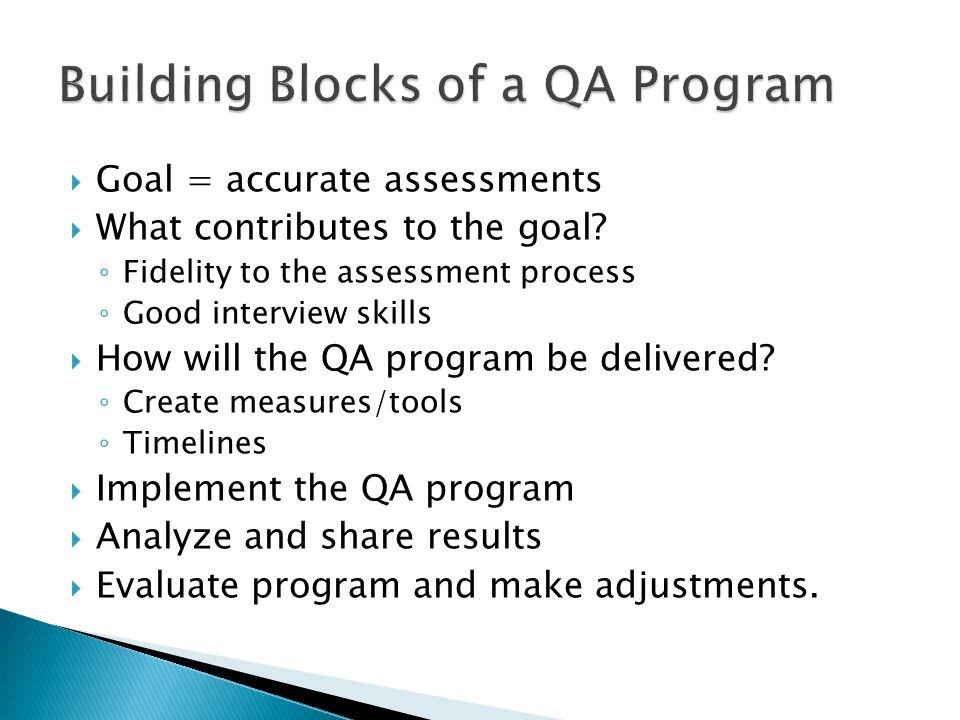 Building Blocks of a QA Program