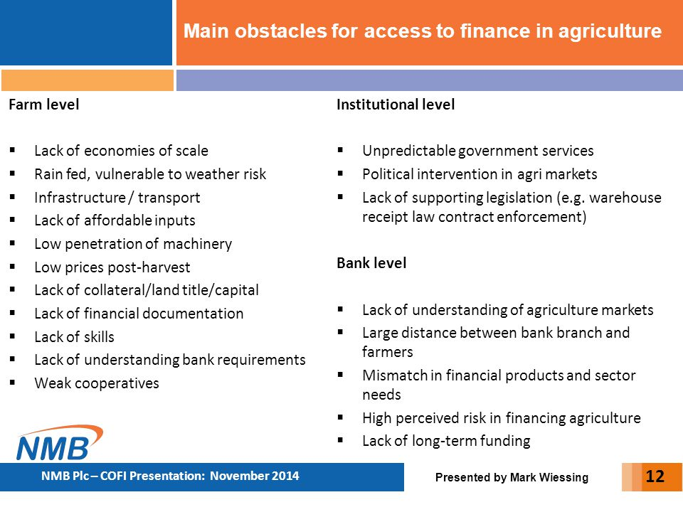 Main obstacles for access to finance in agriculture