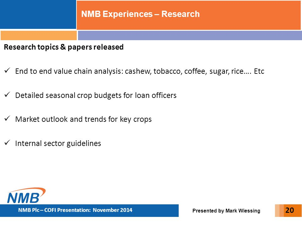 NMB Experiences – Research