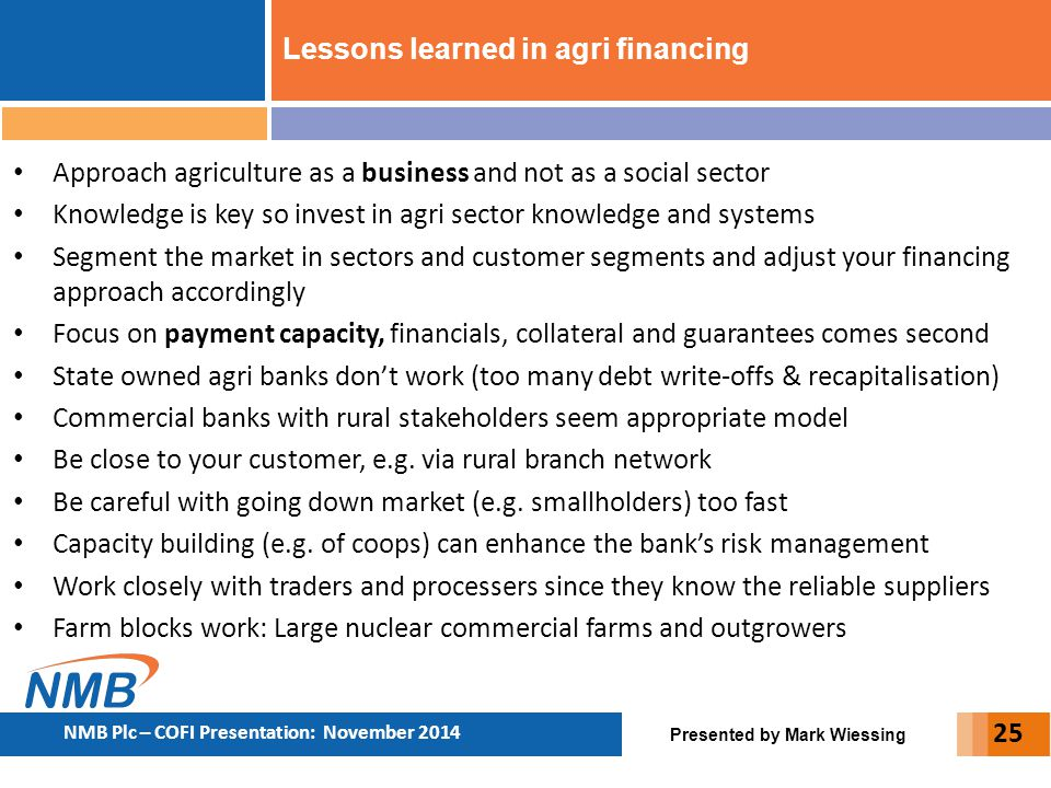 Lessons learned in agri financing