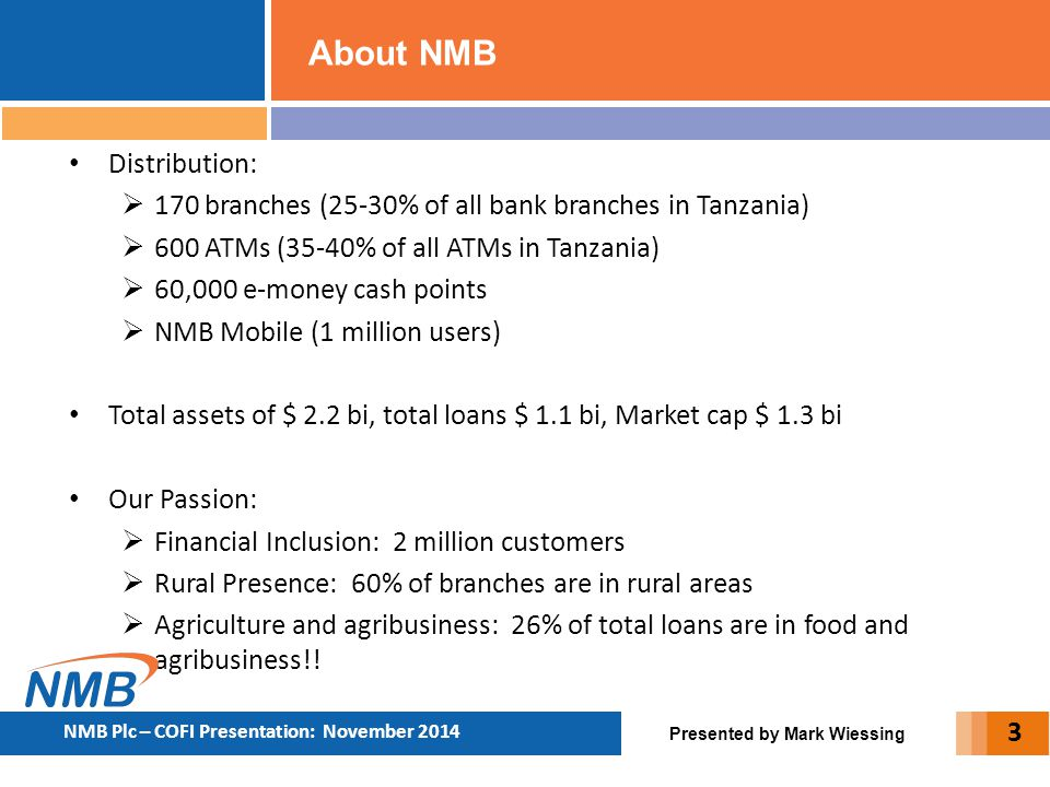 About NMB Distribution: