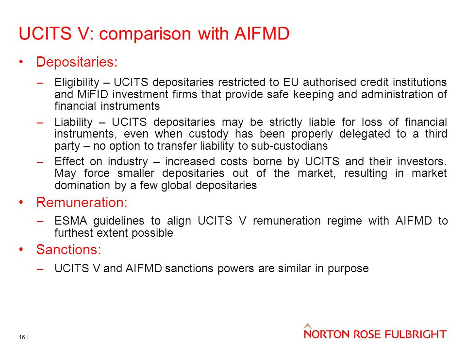 UCITS V: comparison with AIFMD