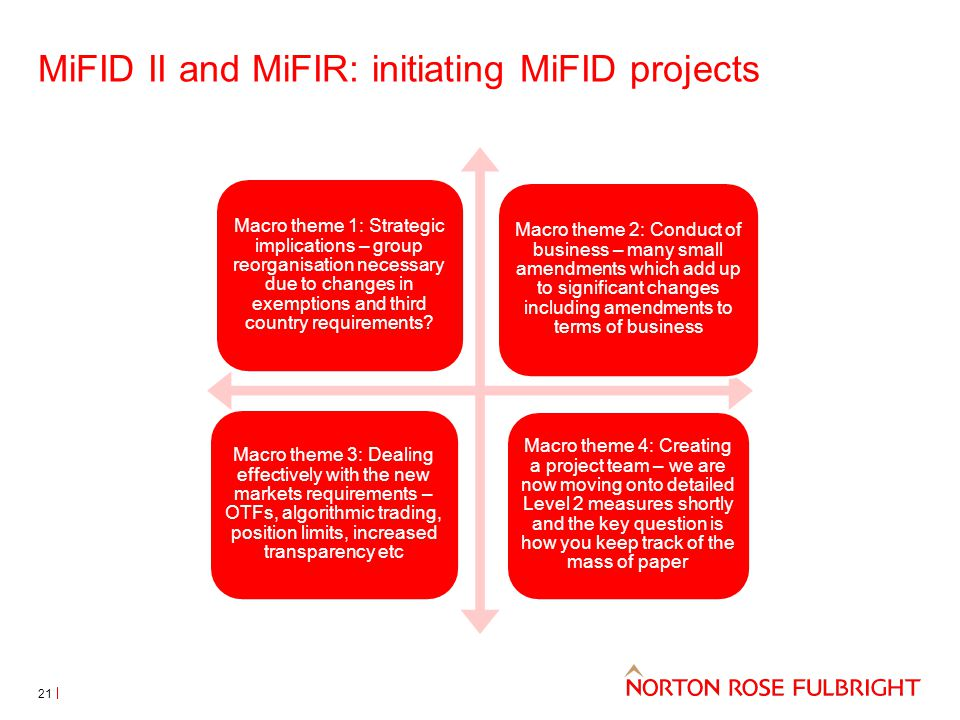 MiFID II and MiFIR: initiating MiFID projects