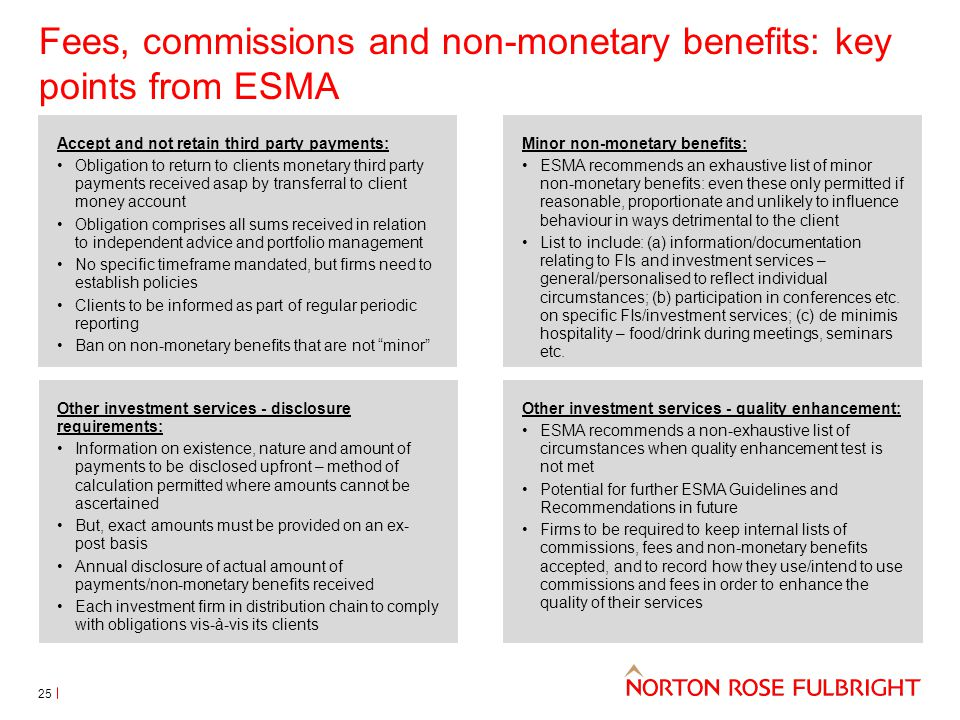 Fees, commissions and non-monetary benefits: key points from ESMA