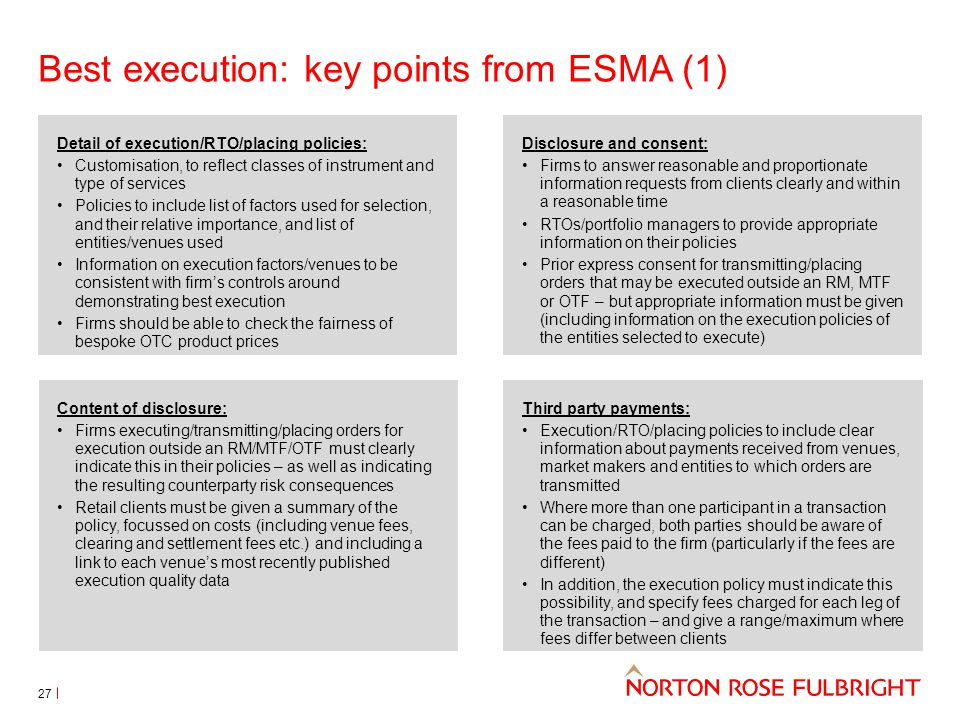 Best execution: key points from ESMA (1)