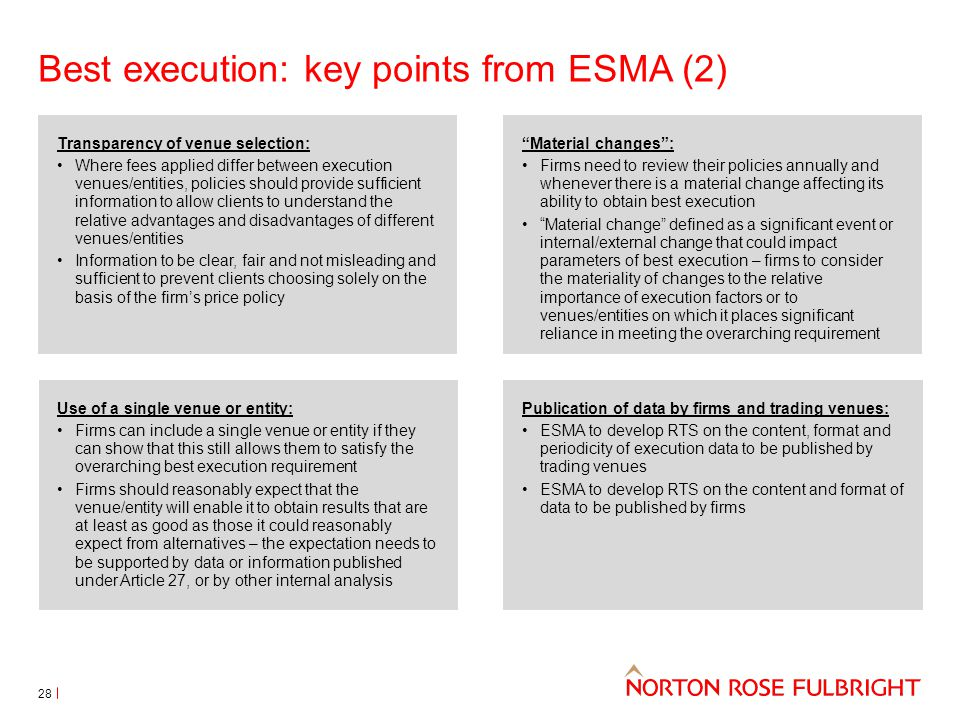 Best execution: key points from ESMA (2)