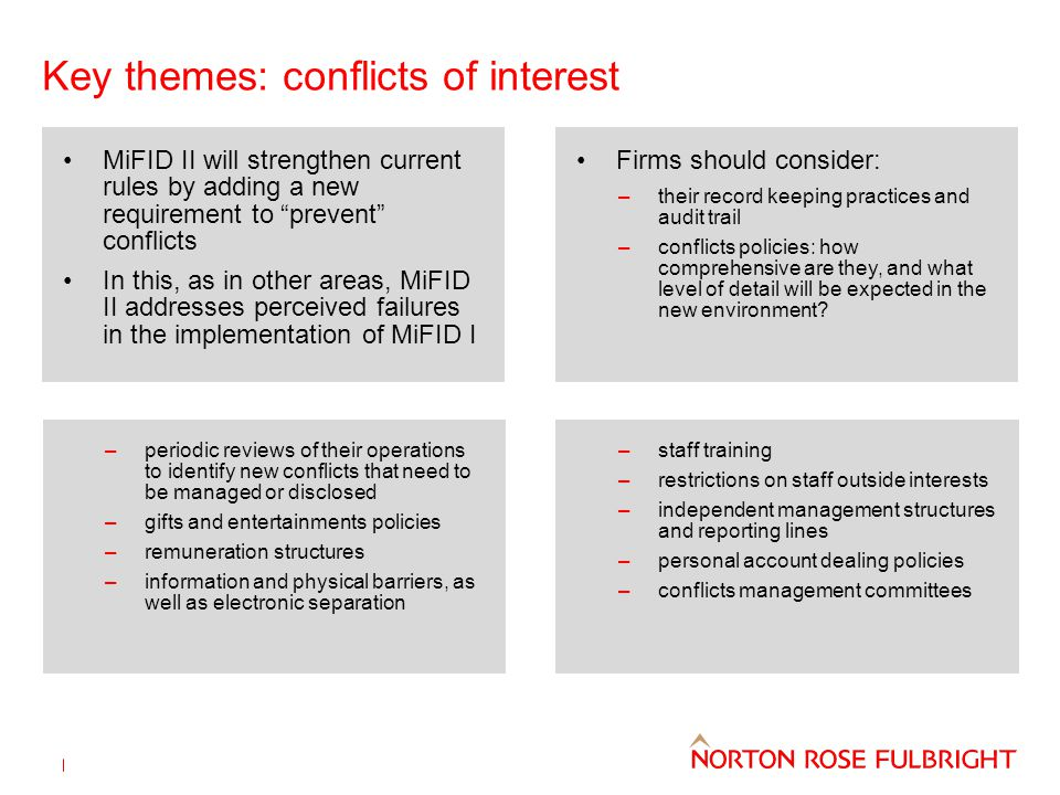 Key themes: conflicts of interest