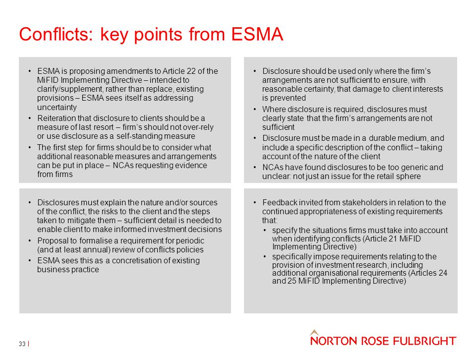 Conflicts: key points from ESMA