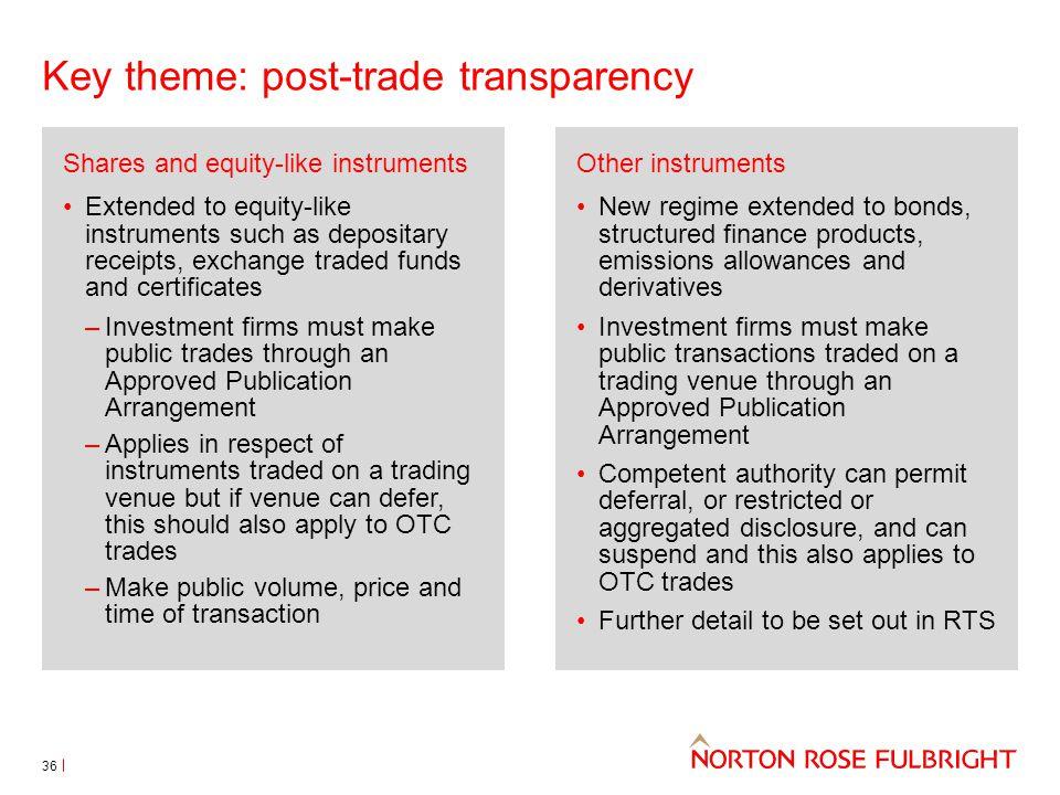 Key theme: post-trade transparency