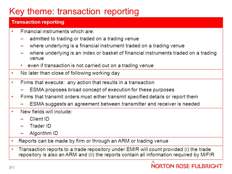 Key theme: transaction reporting