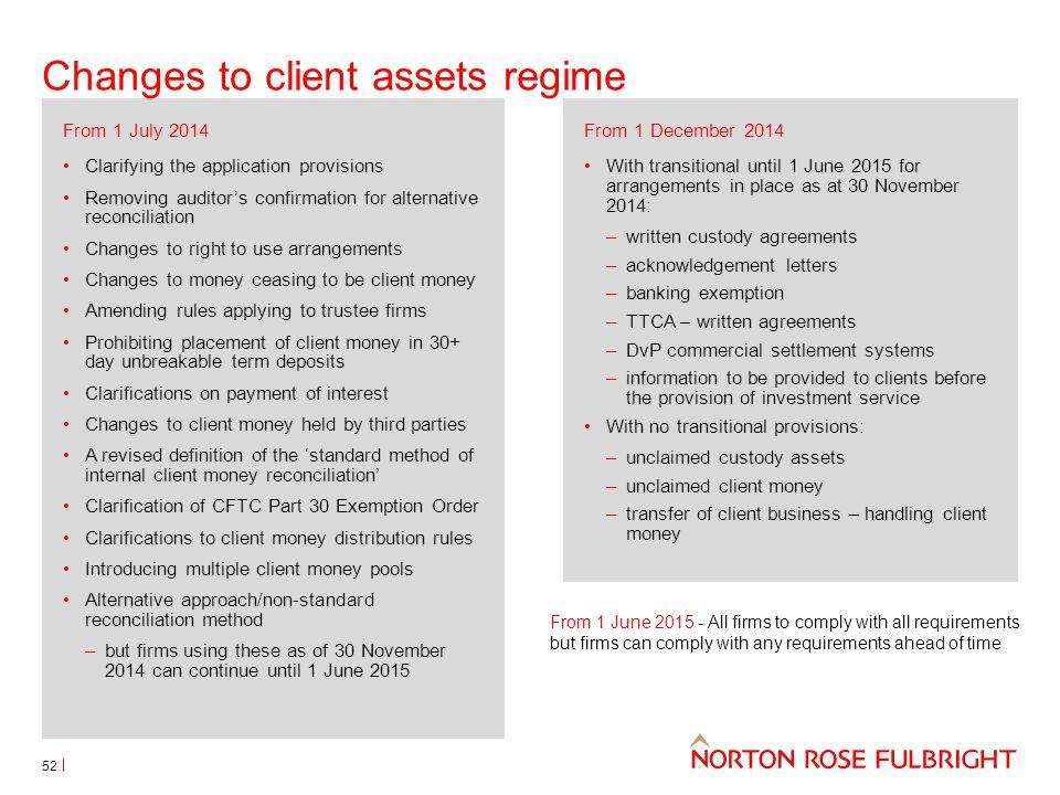 Changes to client assets regime