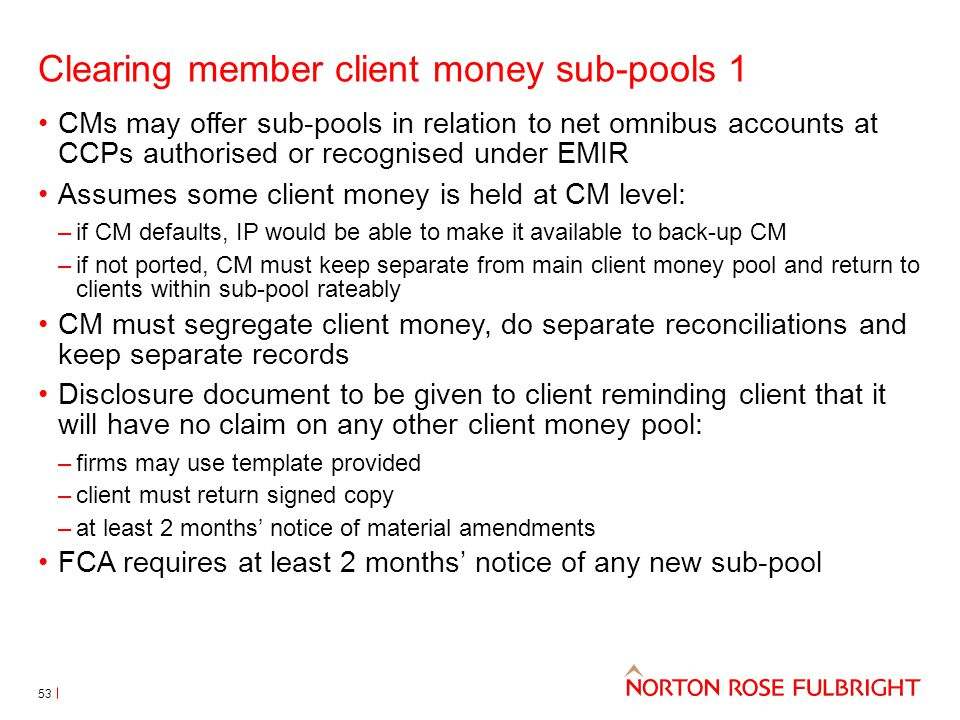 Clearing member client money sub-pools 1