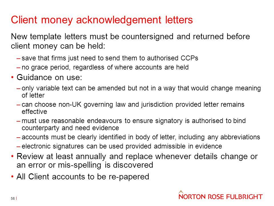 Client money acknowledgement letters