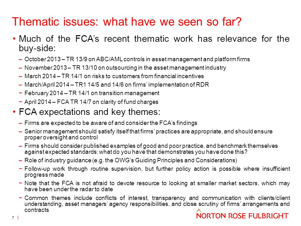 Thematic issues: what have we seen so far