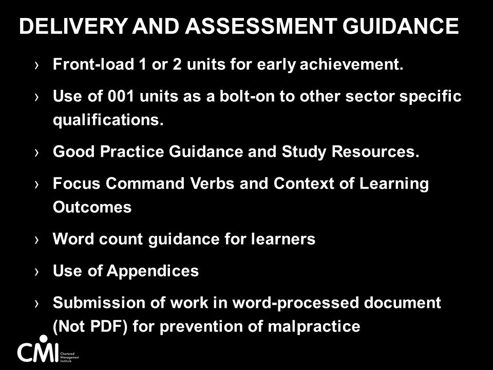 Delivery AND Assessment Guidance