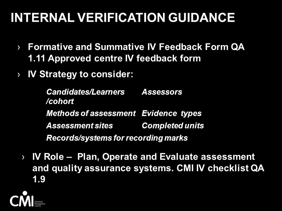 Internal Verification Guidance