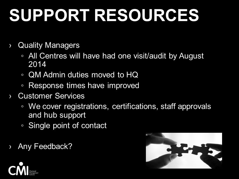 Support Resources Quality Managers