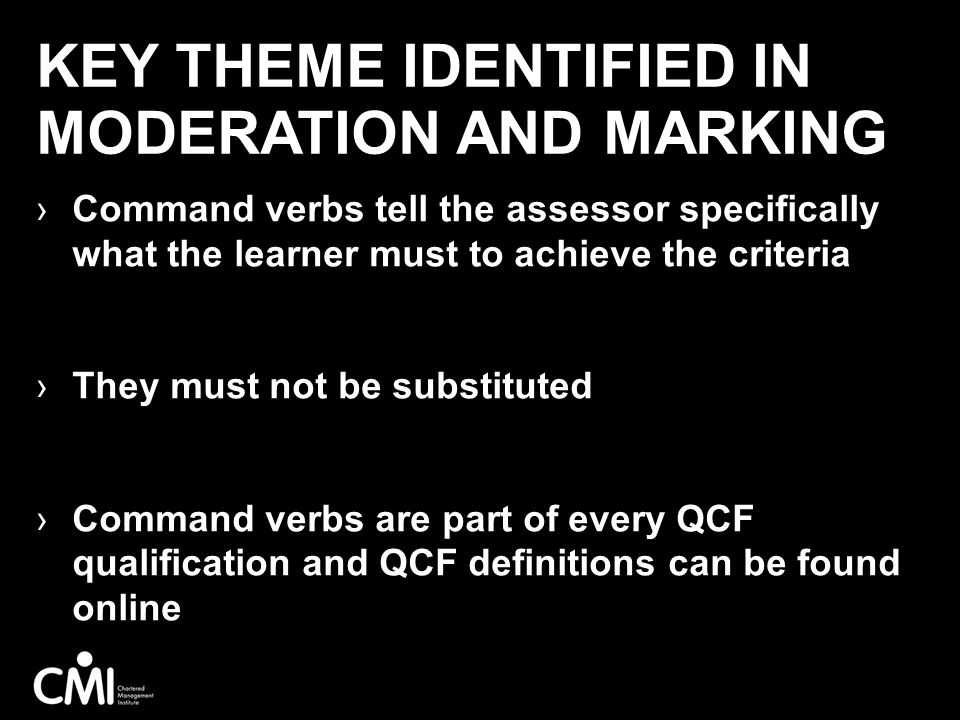 Key theme identified in moderation and marking