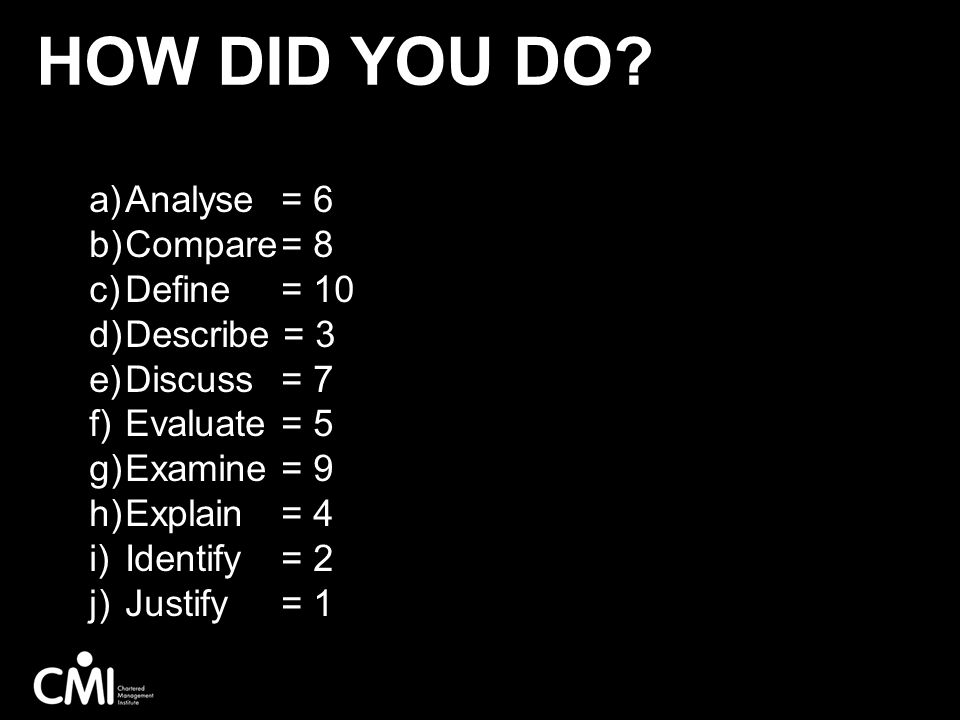 How did you do Analyse = 6 Compare = 8 Define = 10 Describe = 3