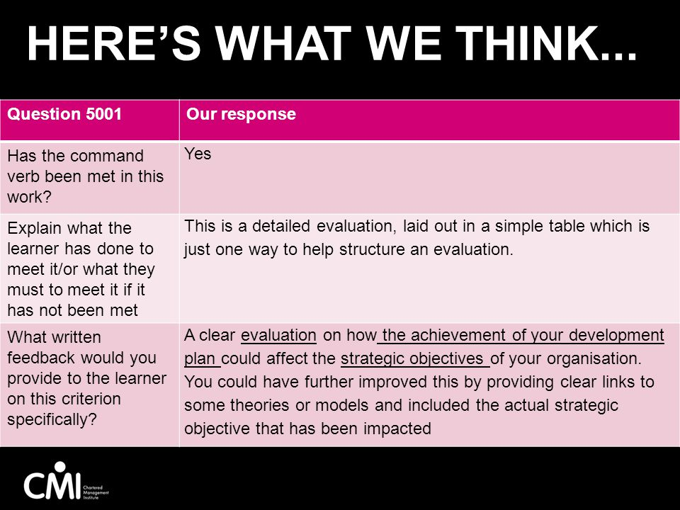 Here's what we think... 5001V1 Assessment activity – if we have time