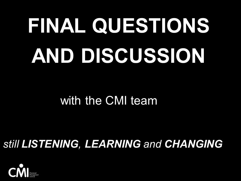 Final questions and discussion