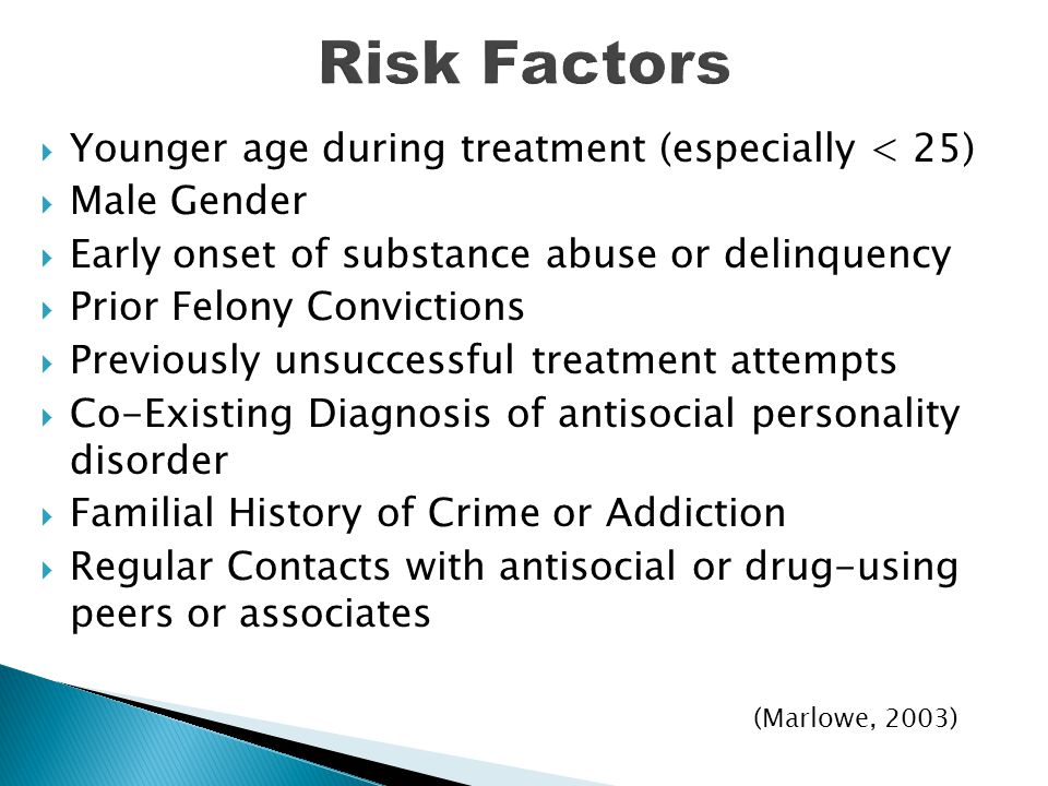 Risk Factors Younger age during treatment (especially < 25)