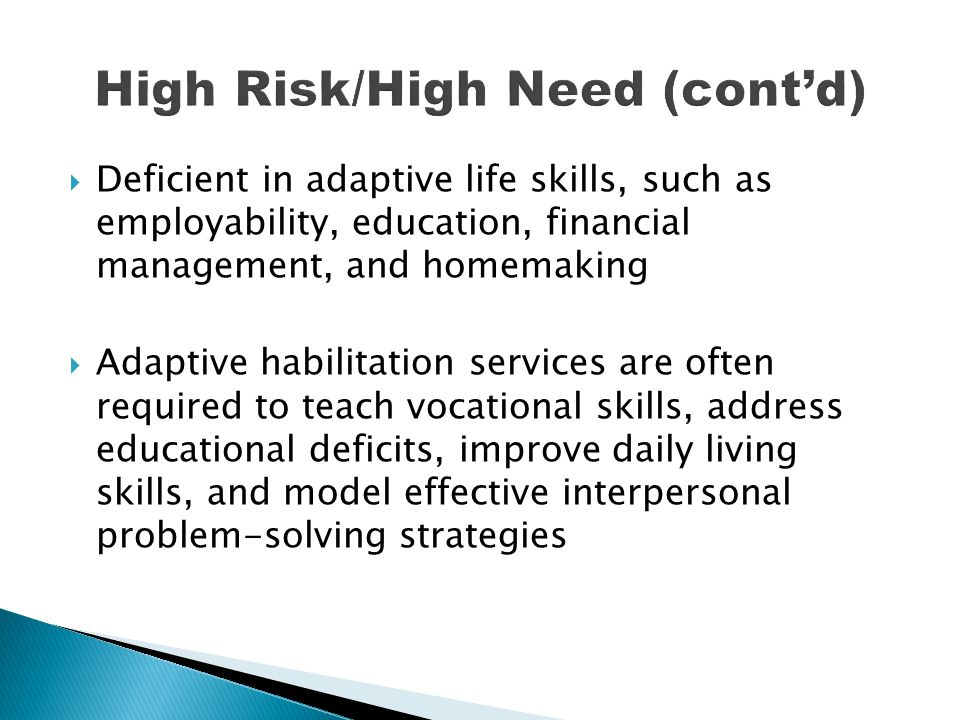 High Risk/High Need (cont'd)