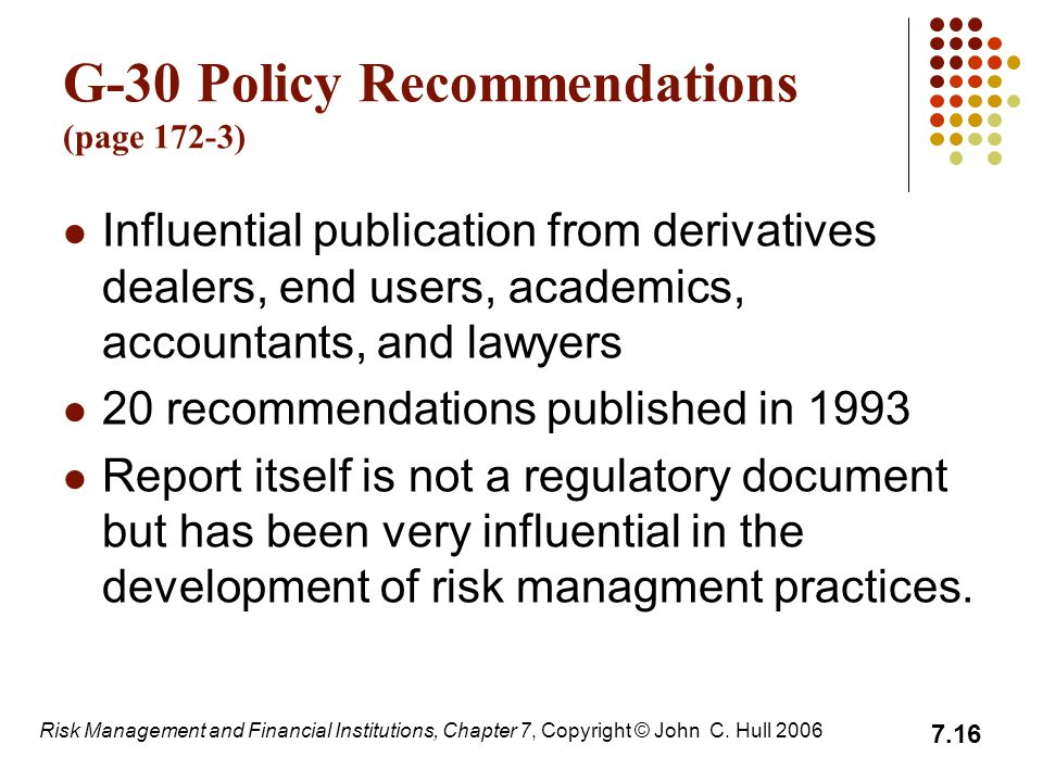 G-30 Policy Recommendations (page 172-3)