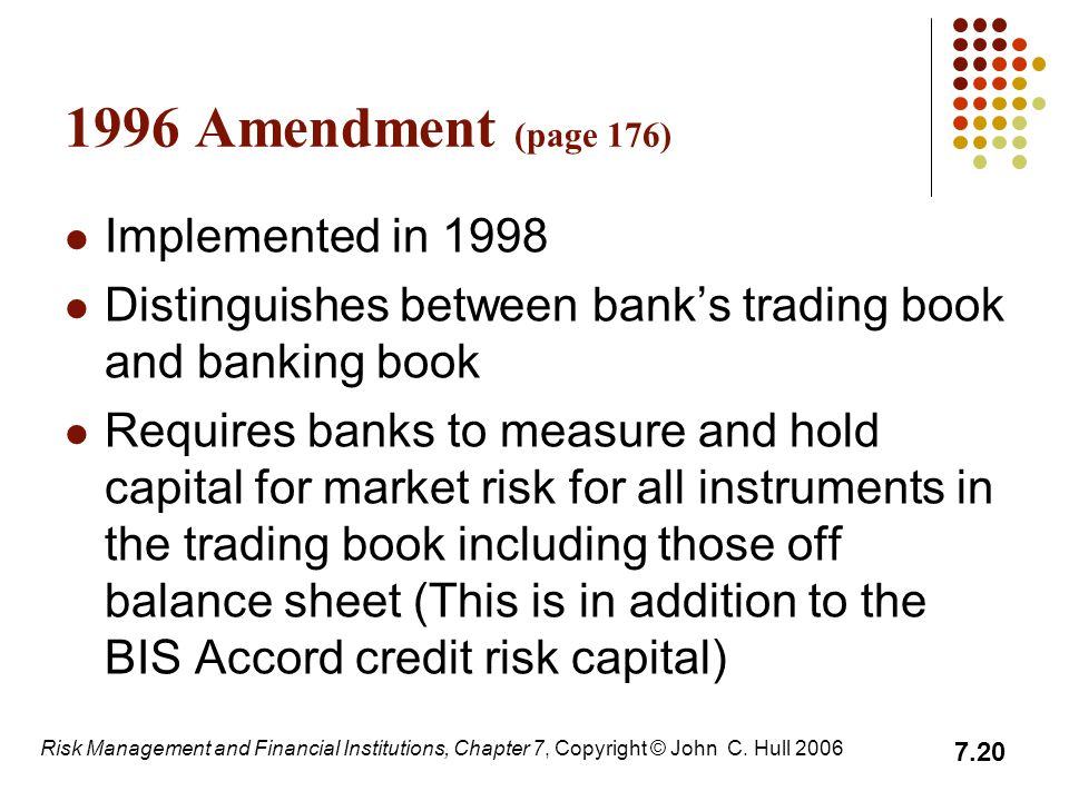 1996 Amendment (page 176) Implemented in 1998