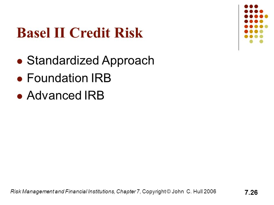 Basel II Credit Risk Standardized Approach Foundation IRB Advanced IRB