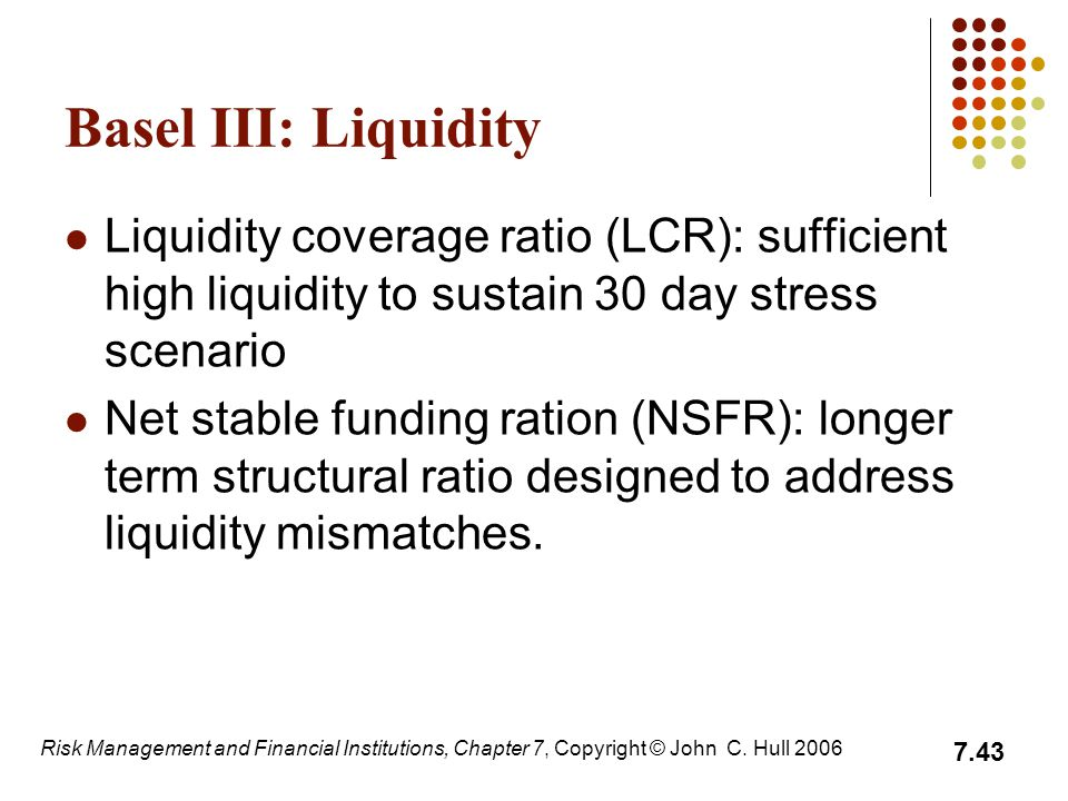 Basel III: Liquidity Liquidity coverage ratio (LCR): sufficient high liquidity to sustain 30 day stress scenario.