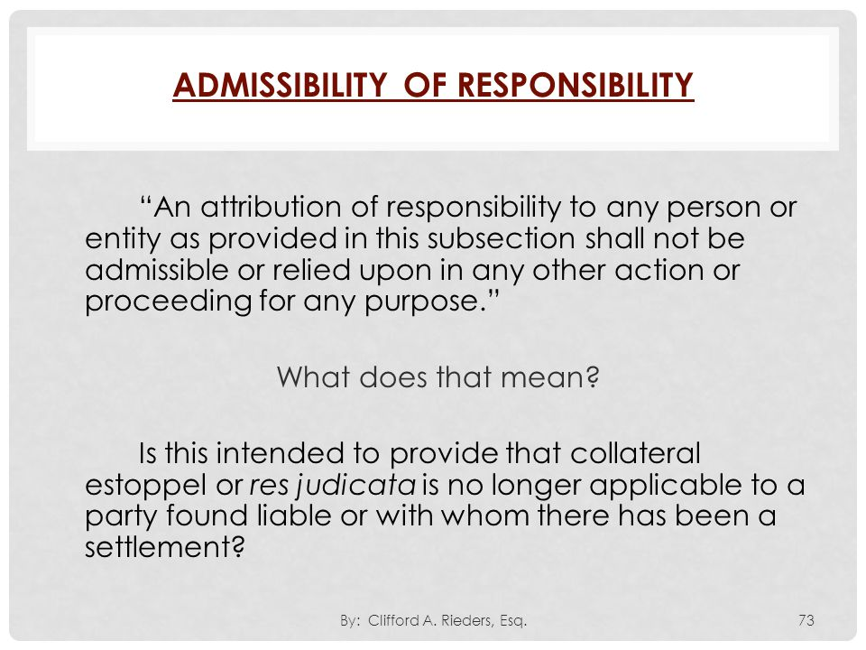 Admissibility of Responsibility