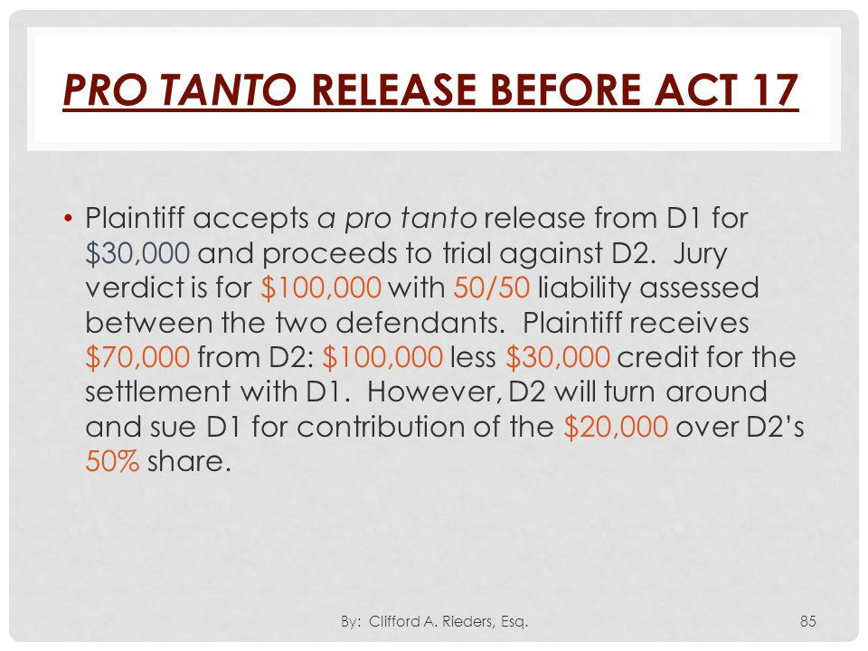 Pro Tanto Release Before Act 17