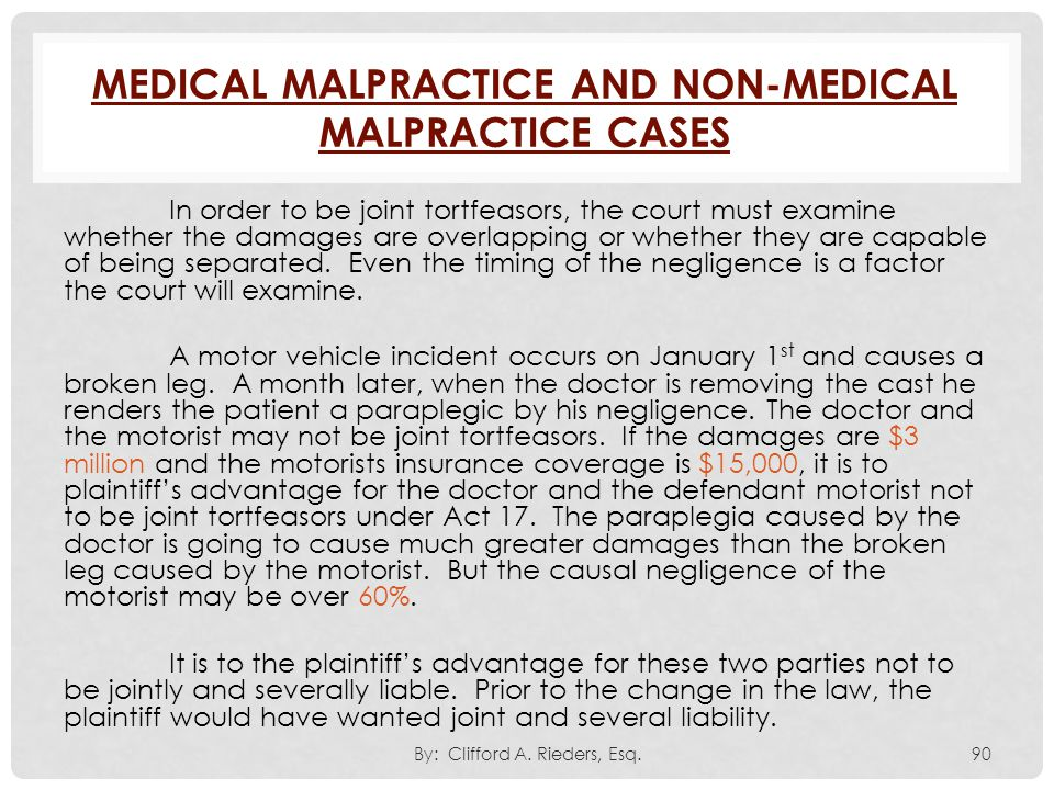 Medical Malpractice and Non-Medical Malpractice Cases