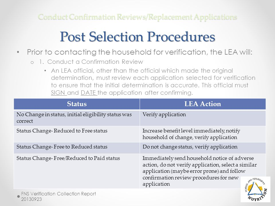 Prior to contacting the household for verification, the LEA will: