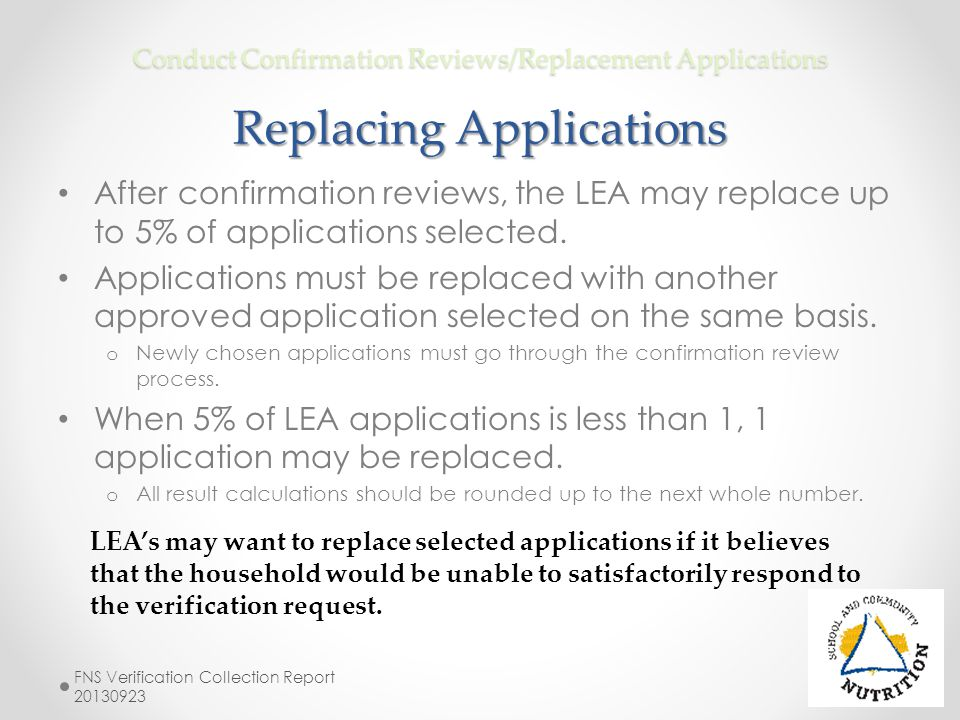 Conduct Confirmation Reviews/Replacement Applications Replacing Applications