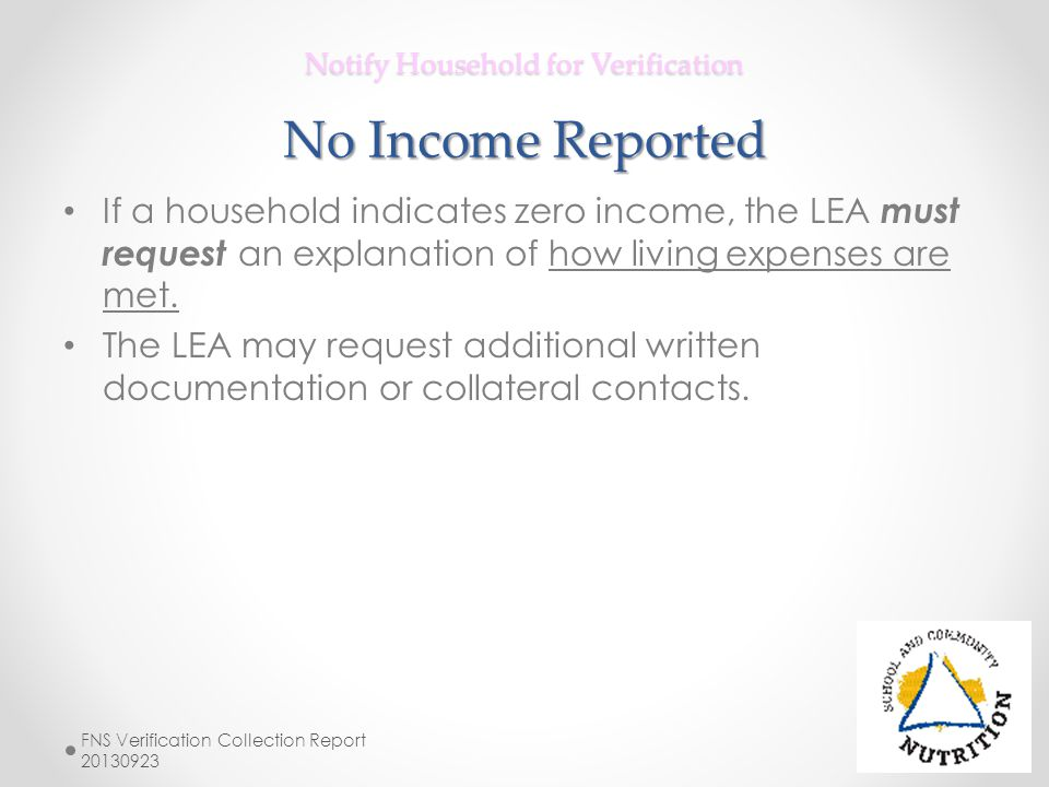 Notify Household for Verification No Income Reported