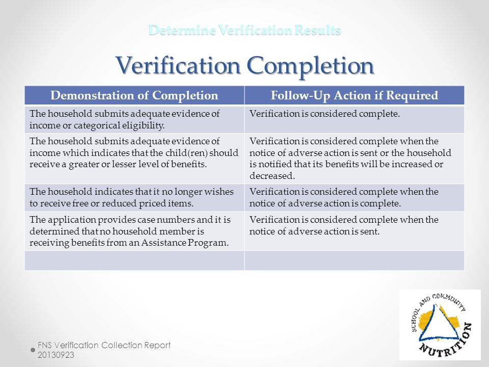 Determine Verification Results Verification Completion