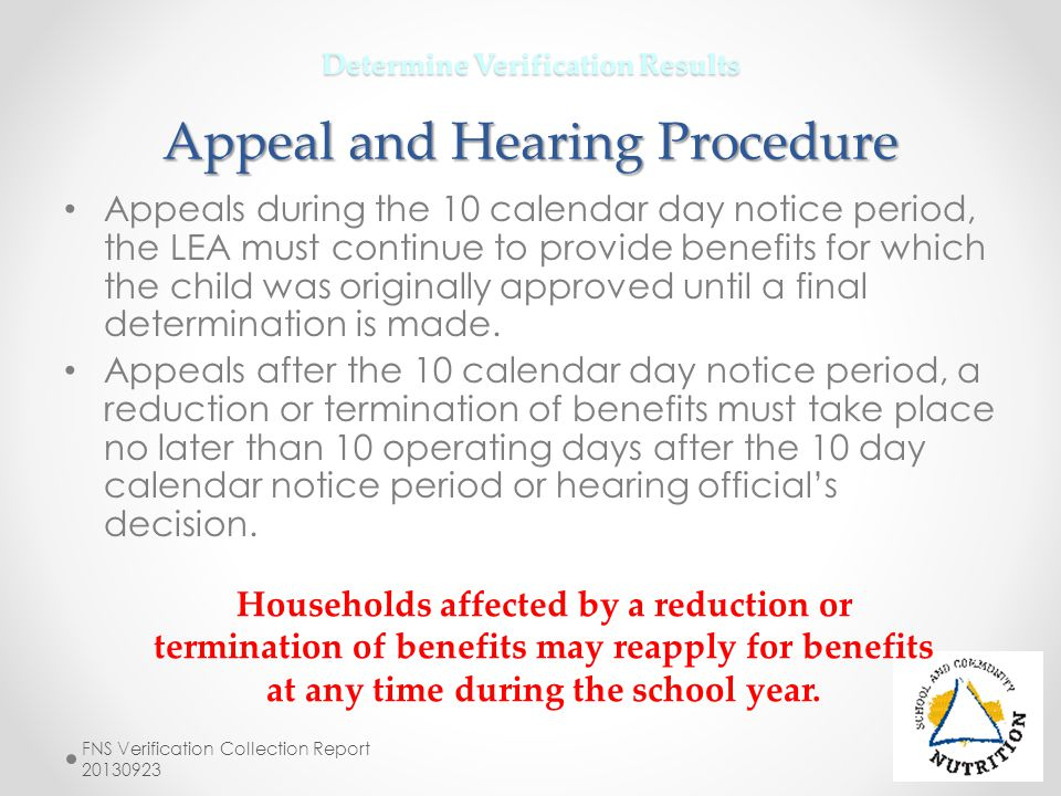 Determine Verification Results Appeal and Hearing Procedure