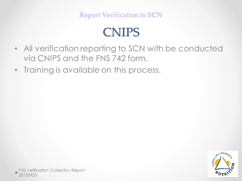 Report Verification to SCN CNIPS
