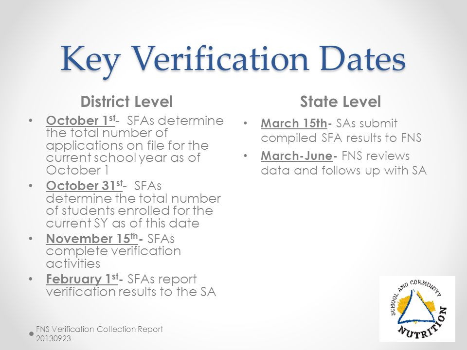 Key Verification Dates